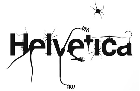the famous Helvetica letters and various object silhouettes