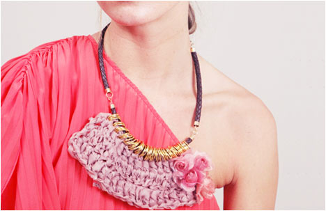 Dusty chiffon braided neck piece