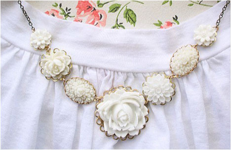 White Rose Necklace