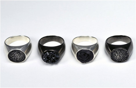 Round Rings | Silver, Gun Metal Plated Bronze, Hair, Wax, Rubber, Pumice