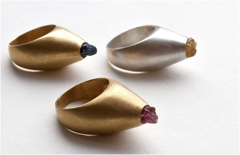 Gold Cone Rings | Silver, 24k gold plated bronze, sapphire