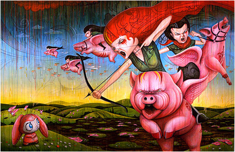 When Pigs Fly | 2009 | Acrylic and markers on canvas