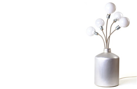 Flowers Llamp | aluminum jug, flexible light pipes, sphere lamps