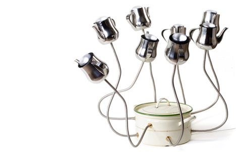 Kitchen Lamp | round enamel pot, metal teapots, electric parts