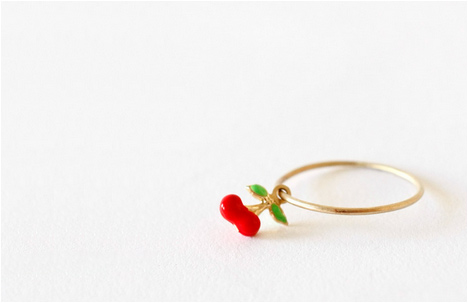 Gold Cherry Ring