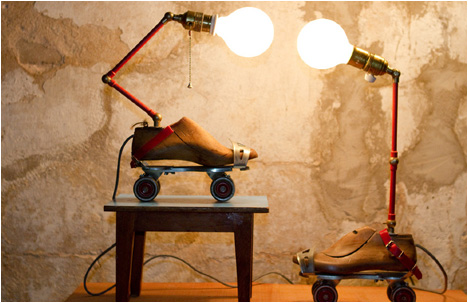 Dirft & Charpel | Two vintage skates, a shoemaker's last and sugar containers